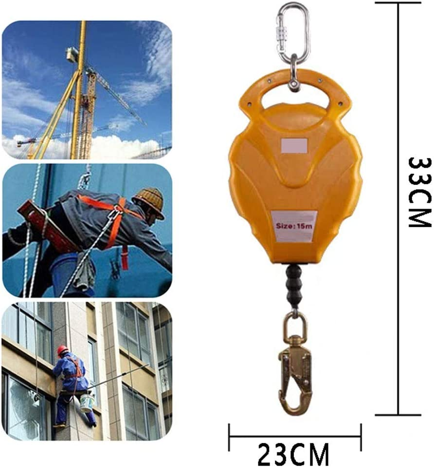 LMZZ Self Retracting Lifeline 50 ft, Personal Protection Equipment, Safety Lanyard Fall Protection, High-Altitude Fall Arrester - with Self-Locking Hook, Yellow