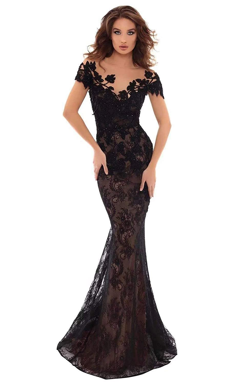 Unions Women Floral Appliques Mermaid Prom Dress Backless Long Wedding Celebrity Evening Gown