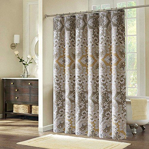 Ufriday Water Proof Mildew Free Shower CurtainRomes Life Pattern Fabric PolyesterPaisley Print Bath Curtain Extra Long With Rust Metal Grommets