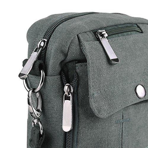 Zicac- Los nuevos bolsos de hombres de la vendimia de la lona multifunción Viajes Satchel / Mensajero bolso pequeño (Negro) gris
