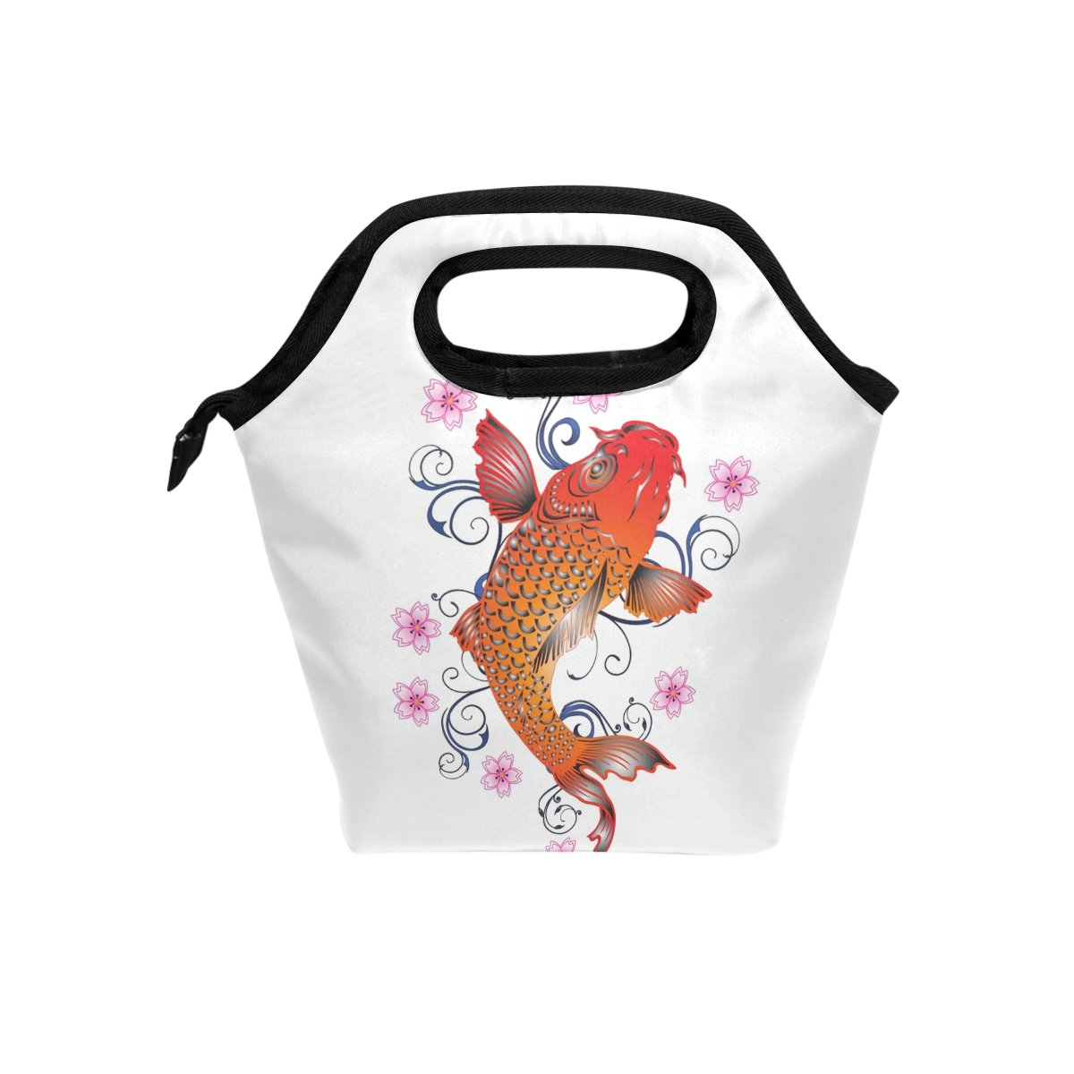 9c2bcbb77b23 Amazon.com - HEOEH Red Koi Painting Lunch Bag Cooler Tote Bag ...