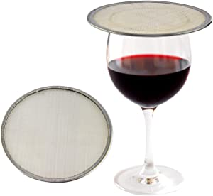 "HOME-X Stainless-Steel Drink Covers, Mesh Discs for Drinking Outdoors, Ventilated Outdoor Beverage Covers, Keep Bugs Out, Reduces Splashing - Fits Wine Glasses & other Drinking Cups-2 Pack-4"" D"