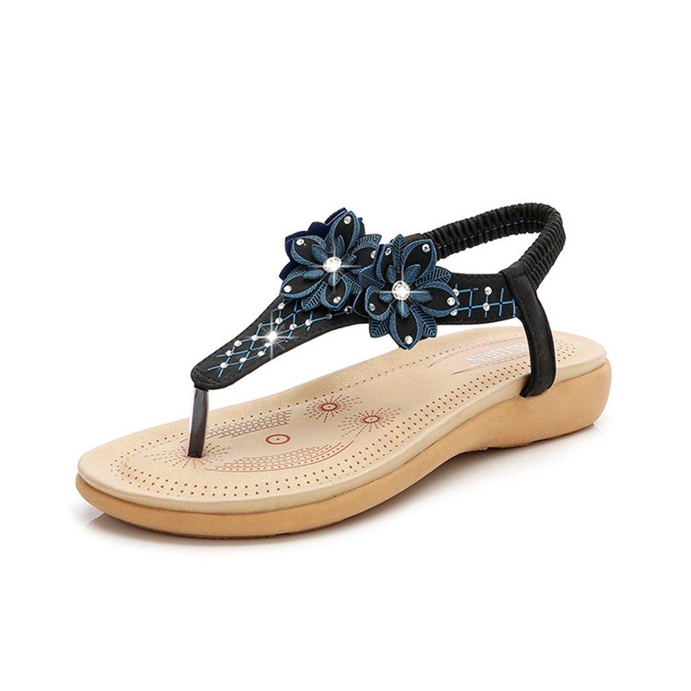 JITIAN Sandales Sandales Plateforme Femmes Mode Chaussures Été Chaussures Plage Confort Fleurs Strass Casual Élastique Confort Tongs Noir c22285b - fast-weightloss-diet.space