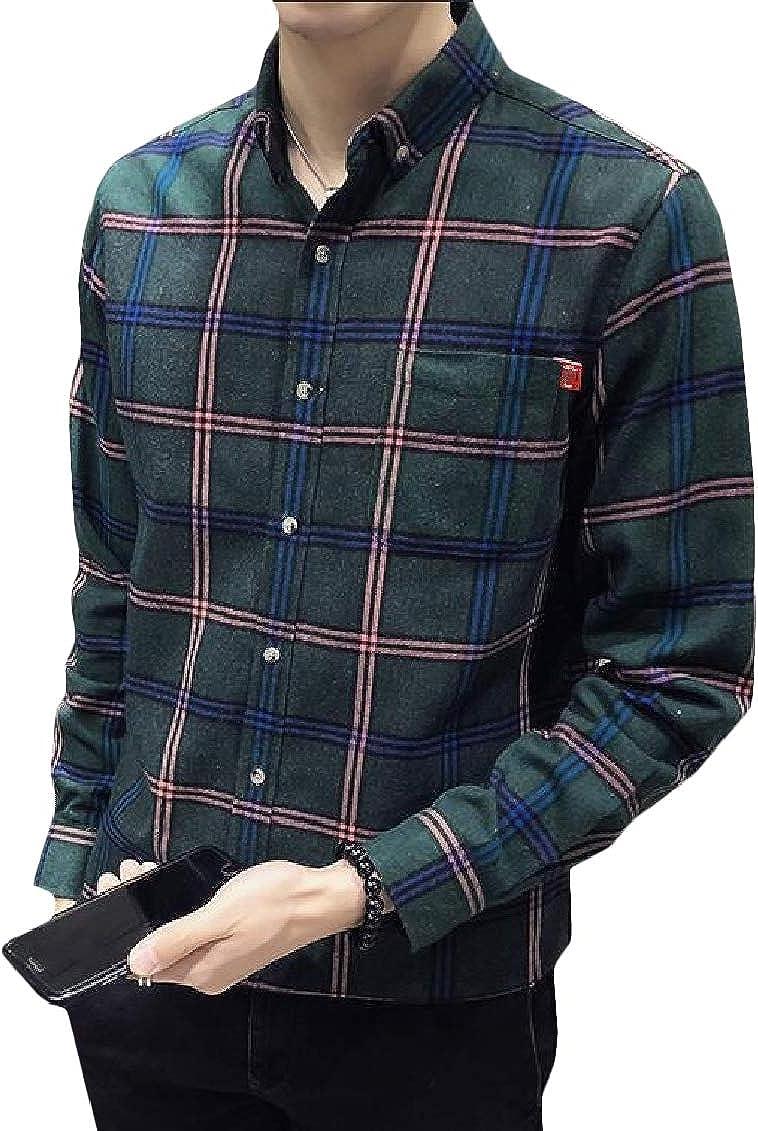 Hajotrawa Mens Long Sleeve Vogue Plaid Regular Fit Button Down Shirts