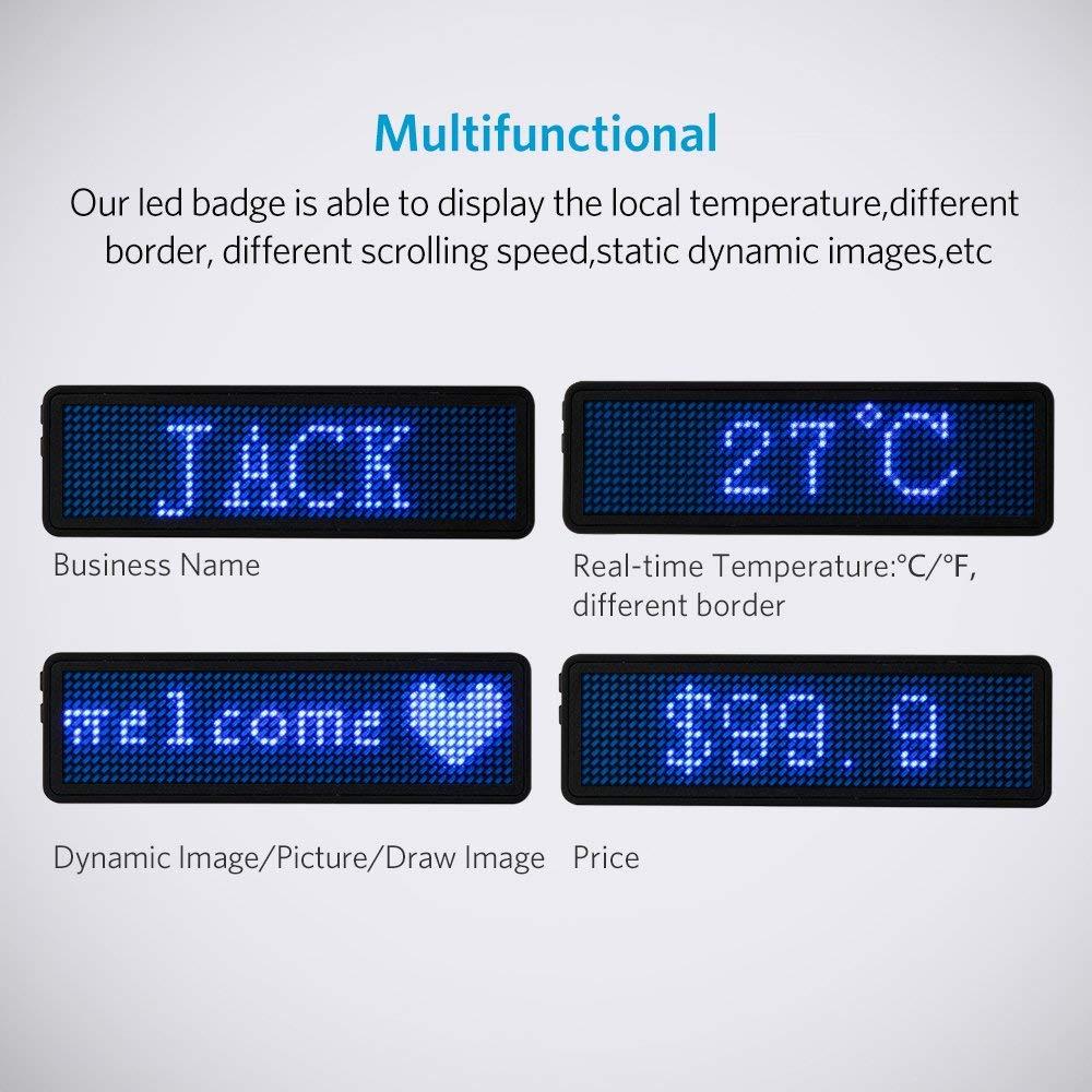portaetiquetas de desplazamiento digital azul//rojo//verde USB Etiqueta LED programable recargable con nombre y mensaje magn/ética recargable 3 x 48 x 12 personalizable Vadiv