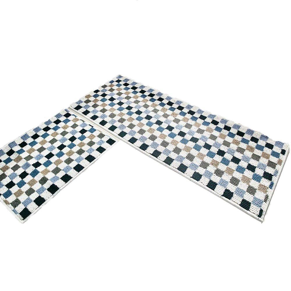 (0.3m1.8m x 0.6m6+0.3m1.8m x 1.5m, Blue) - Wolala Home 2 Piece Sets Carpet for Kitchen Rubber Backing Non-Slip Mat Doormat Area Rugs Thin (0.3m1.8m x 0.6m6+0.3m1.8m x 1.5m, Blue) 1'6x2'6+1'6x5' ブルー B073NYQ83K