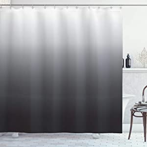 Ambesonne Ombre Shower Curtain, Greyscale Tone Change Illustration with Modern Contemporary Abstract Art Influences, Cloth Fabric Bathroom Decor Set with Hooks, 75