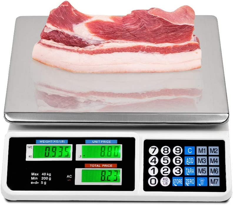 La fete 88LB Digital Price Scale Electronic Price Computing Scale LCD Digital Commercial Food Meat Weight Scale, Upgraded Version