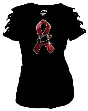 aee8f6828 Bling Rhinestones Breast Cancer Pink Ribbon Football T-Shirt Ripped Cut Out  (1X-