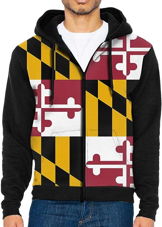 Maryland Flag for Men Full Zip Hoodie Jacket Hooded Sweatshirt