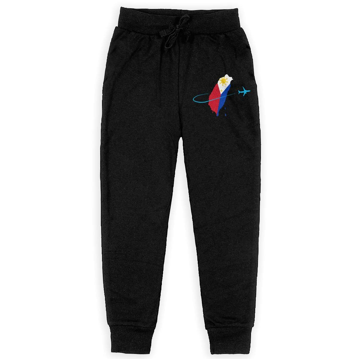 WYZVK22 Philippines Flag with Plane Soft//Cozy Sweatpants Girls Fleece Pants for Teenager Boys