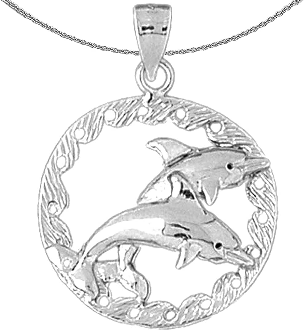 Rhodium-plated 925 Silver Dolphins Jumping Through Hoop Pendant with 18 Necklace Jewels Obsession Silver Dolphins Jumping Through Hoop Necklace