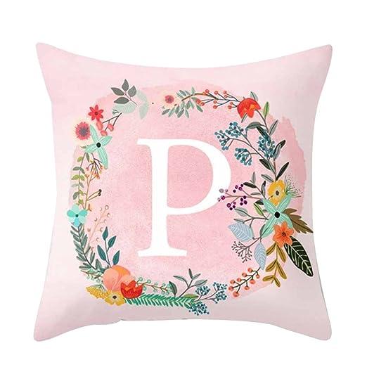 dragonaur rosa patrón de letras manta funda de almohada Funda para cojín sofá cama coche decoración para el hogar, poliéster, One Color, P
