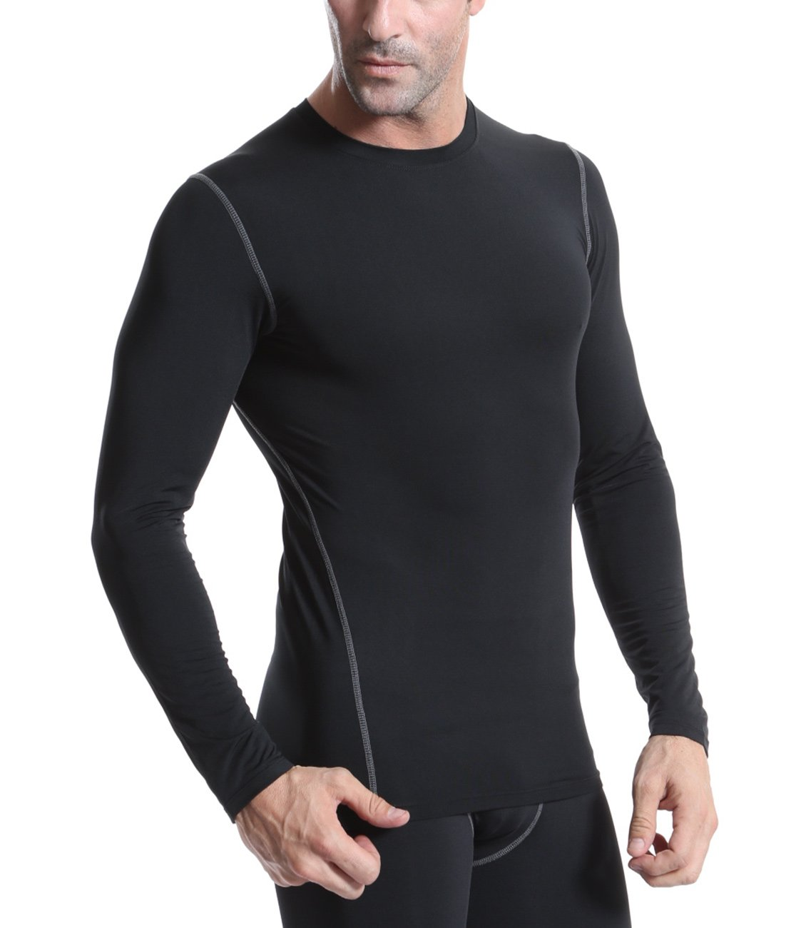 Yuerlian Men Compression Shirts Long Sleeve Thermal Baselayer Coldgera Running Shirts