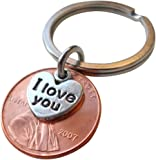 I Love You Heart Charm Layered Over 2007 Penny Keychain, 10 Year Anniversary Gift, Birthday Gift, Couples Keychain