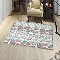 Tribal Floor Mat Pattern Paisley Patterns in Native Aztec in Mixed Pattern Floral Ethnic Design Living Dinning Room & Bedroom Rugs 5x6 Cream Aqua Coral