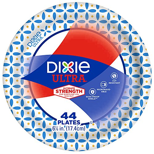 Dixie Ultra Paper Plates, 6 7/8 Inch Plates, 176 Count (4 Packs of 44 Plates) Dixie Heavy Duty Paper Plates