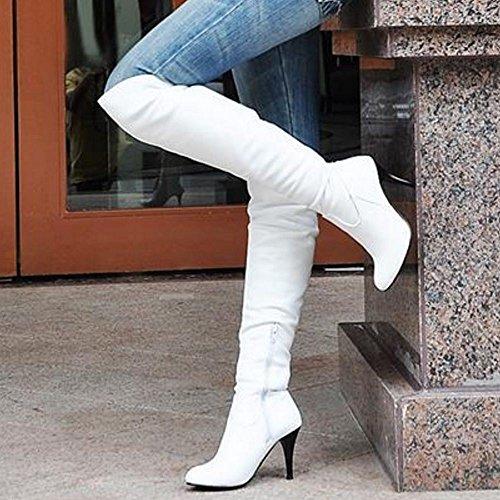 RAZAMAZA Women Heels Boots Half Zipper PU White kRWiU