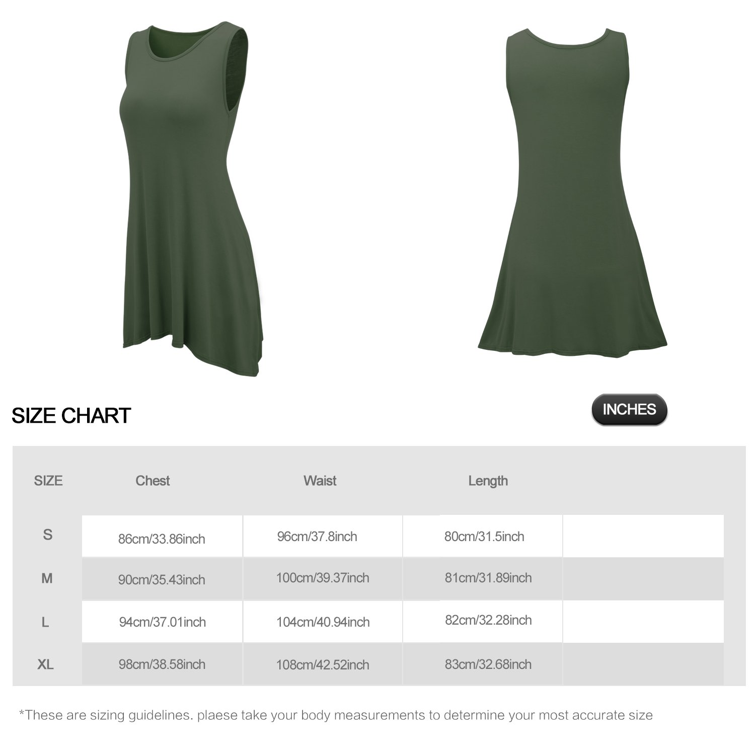 FISOUL Women Tops O-Neck Sleeveless Dress With Double Pockets Loose Bottoming Shirt Green M by FISOUL (Image #4)