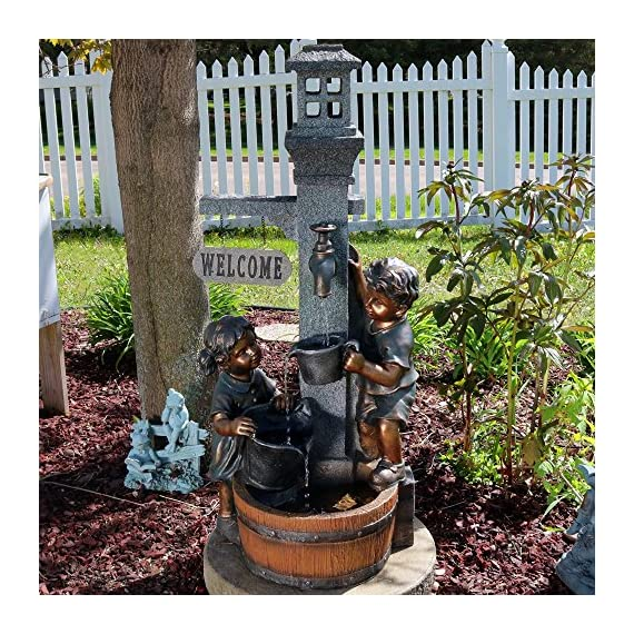 Sunnydaze Children Playing with Faucet Outdoor Water Fountain - Patio & Backyard Water Feature with LED Lights - 40 Inch Tall - OVERALL DIMENSIONS: 15 inches wide x 15 inches deep x 40 inches tall, weighs 27.5 pounds; Top bucket and middle bucket are 2 inches deep, bottom basin is 3 inches deep DURABLE CONSTRUCTION: Made from a polyresin material that is easy to maintain; The children statues are painted with a metallic brass colored paint, adding to the realistic sense of the fountain INCLUDES: Fountain, submersible electric WP350LV pump with 1/2 inch hose diameter, and two LED lights; One is electric and located in the bottom basin and one is solar and located in the top window - patio, outdoor-decor, fountains - 61iGn6EE60L. SS570  -