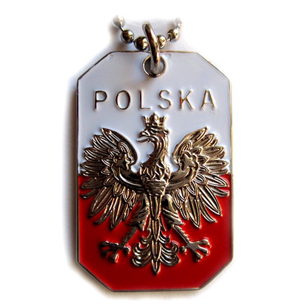 POLAND FLAG POLISH EAGLE POLSKA CREST PENDANT DOG TAG ARMY BALL CHAIN NECKLACE