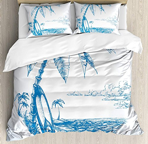 Anzona Surf Duvet Cover Set Twin Size, Contemporary Sketch Illustration Hawaiian Beach with Surfboard Palms and Ocean Water, Decorative 4pcs Bedding Set, Blue White