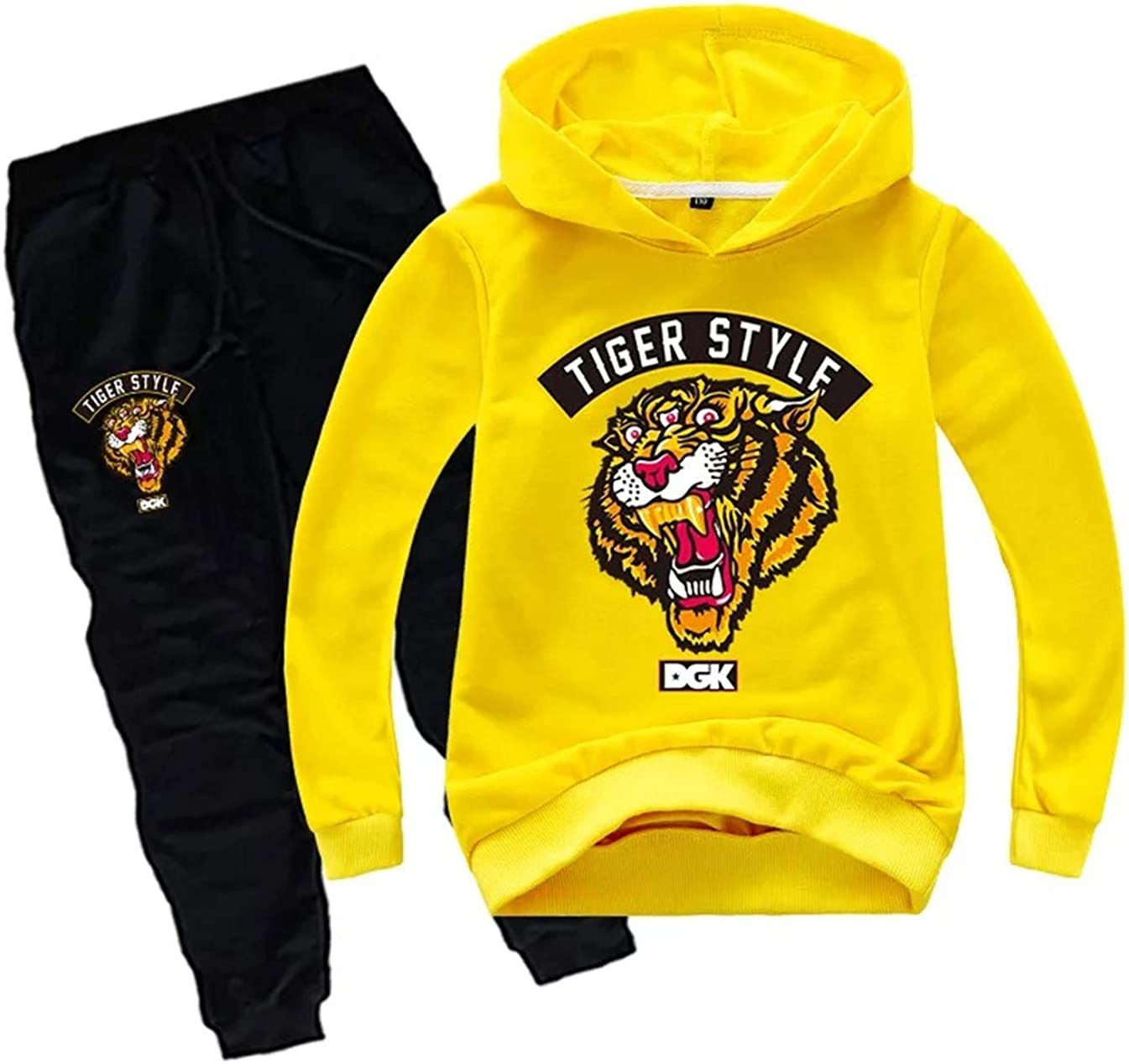 XMTIHE Unisex Kids Tiger Print Pullover Hoodie and Sweatpants Set-Long Sleeve Hooded Tops Sweatshirts for Teen Boys Girls