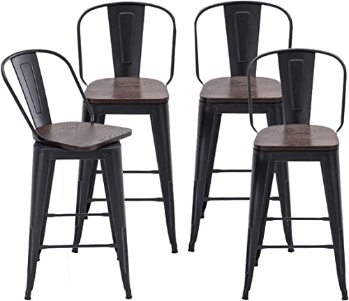 Alunaune 30″ Swivel Metal Bar Stools Set of 4 High Back Counter Height Barstools Industrial Dining Bar Chair