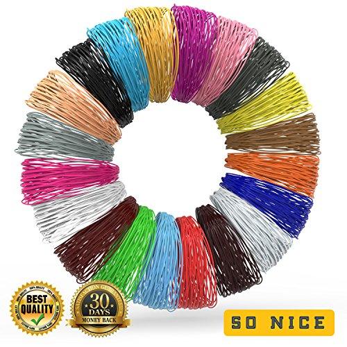 3D Pen Filament Refills – BONUS 100 STENCILS E-BOOK & 3 GLOW IN THE DARK COLORS INCLUDED – PLA Plastic – 20 Colors – 20 Ft of Each Color – Toxic – Free 3D Printing Pens Filaments Supplies