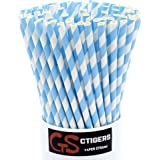 Light Blue Striped Drinking Paper Straws for Birthday Party Wedding Baby Shower Biodegradable Straw Box of 100