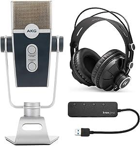 AKG Lyra C44-USB Ultra-HD Multimode USB Microphone Bundle with Knox Headphones and 3.0 4 Port USB Hub (3 Items)