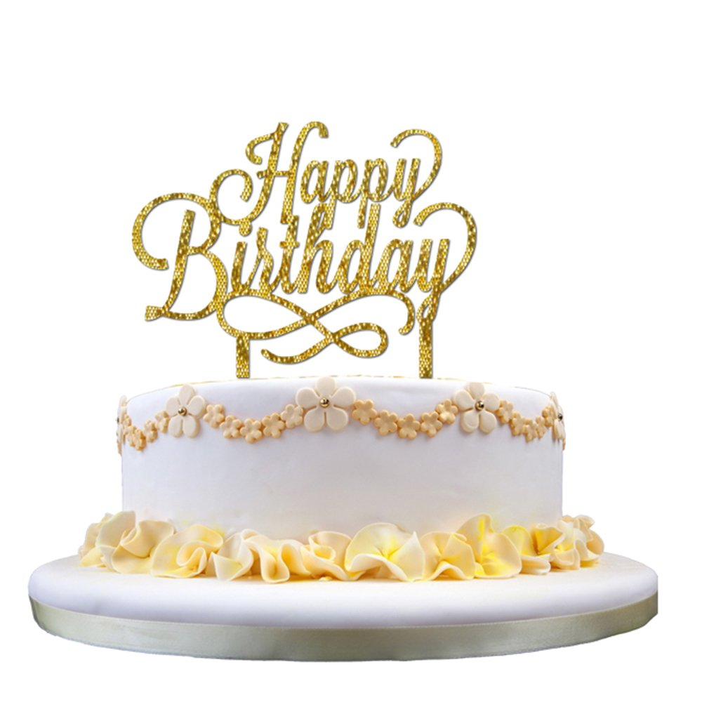 Ziory 1 Pc Golden Glitter Happy Birthday Acrylic Cake Topper For Decoration Personalised Baby 1st