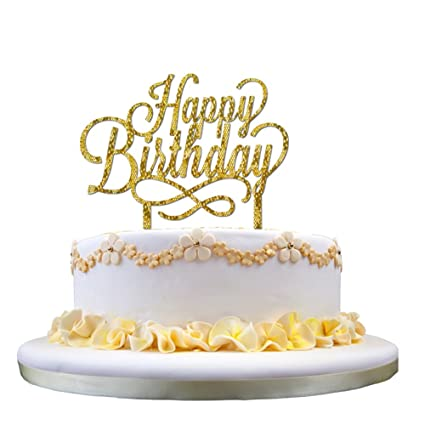 Buy Ziory 1 Pc Golden Glitter Happy Birthday Acrylic Cake Topper For Decoration Personalised Baby