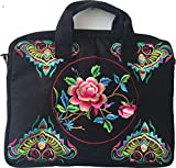 SHOPS 17 International Designs, Laptop Shoulder Bag with Handles for Notebook, Laptop, MacBook 11″,12″, 13″, 14″ Adjustable Shoulder Strap Colorful Embroidery on Front