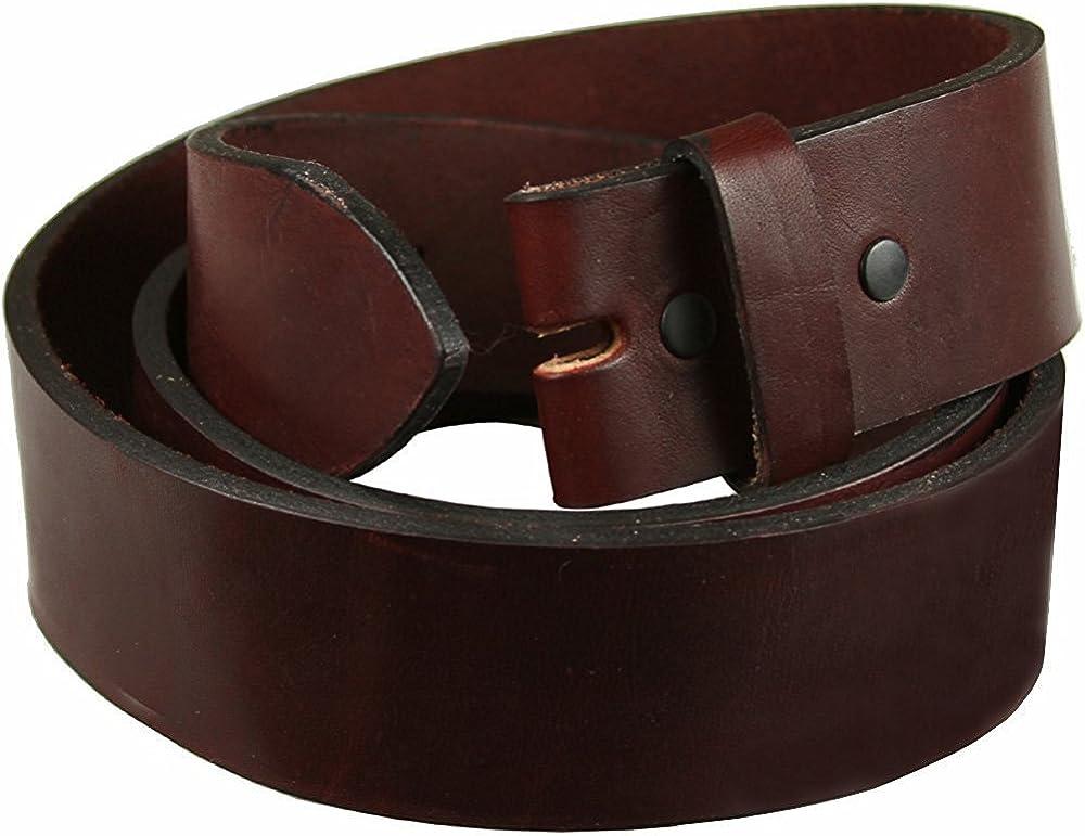 Hagora Men 38 mm Wide Dark Wine Smooth Full Grain Leather Belt Strap With Snaps