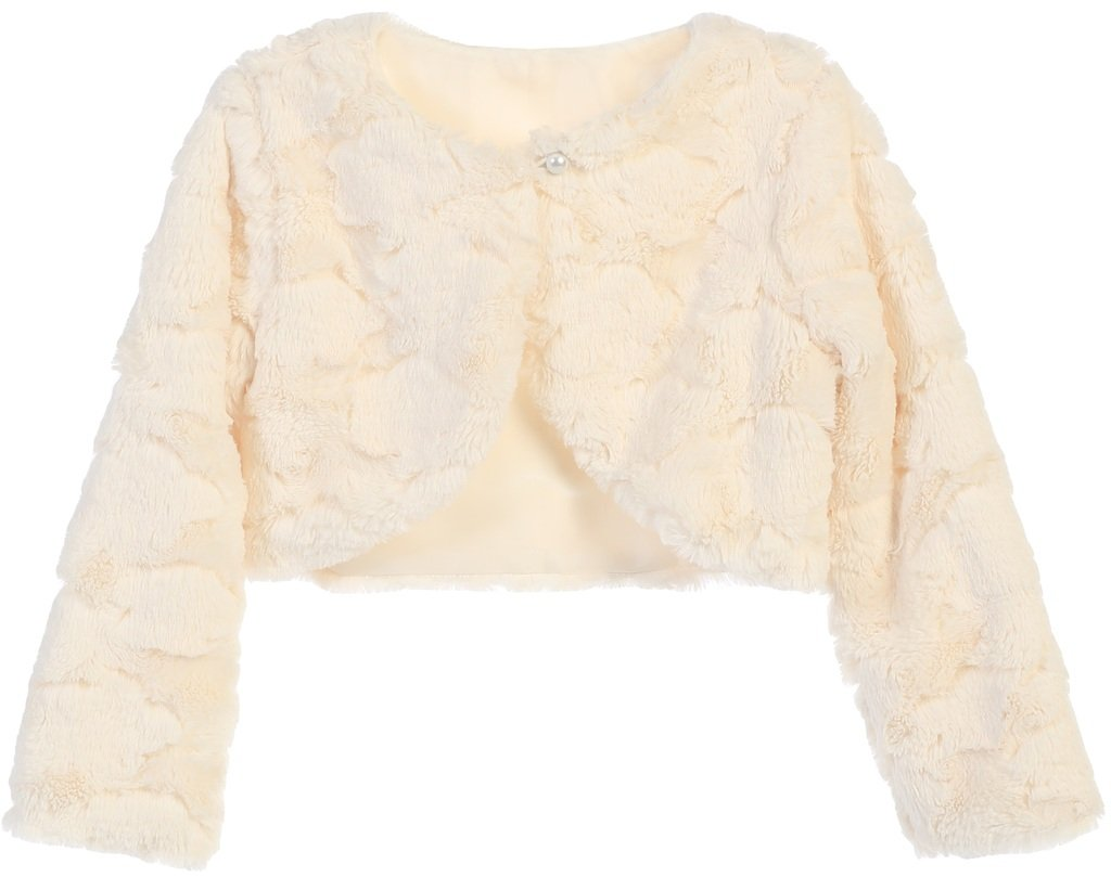 Little Girls Faux Fur Cloud Design Flower Girl Bolero Sweater Jacket Cover Ivory 2 (SC3K7)