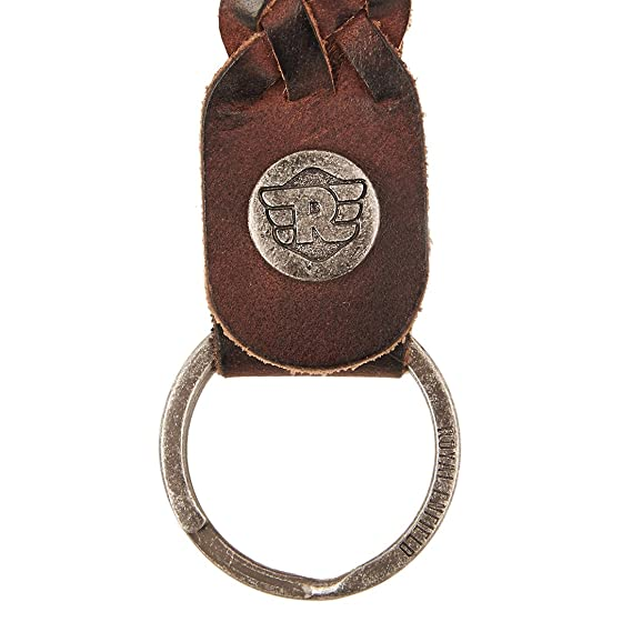 Genuine Royal Enfield Braided Leather Keychain Dark Brown