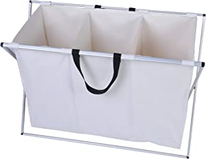 LUCKYERMORE 3 Sections Divided Laundry Hamper with Handle Dirty Clothes Basket for Bathroom, Bedroom and Laundry Room, Aluminum X-Frame and Oxford Hamper Bag