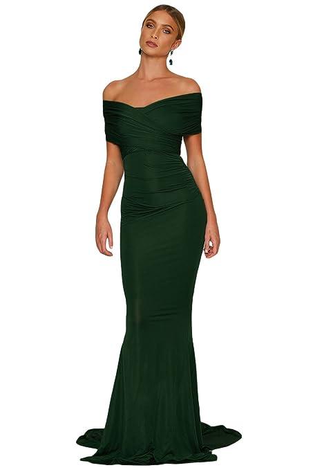 Vestido verde esmeralda para hombro, dama de sirena, vestido de noche, vestido de