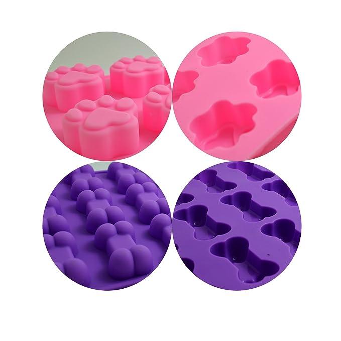 bronagrand alimentos grado silicona huellas y huesos de perro molde de silicona, molde de chocolate, candy mold, mold para hornear cupcakes, magdalenas, ...