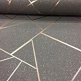 Quartz Fractal Wallpaper Charcoal and Copper Fine Decor FD42283