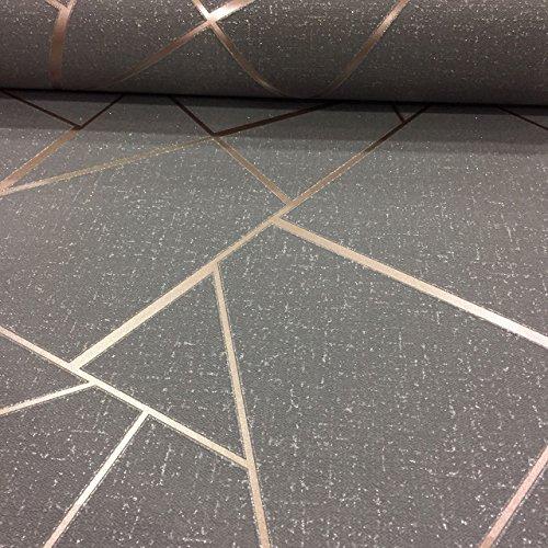 Quartz Fractal Wallpaper Charcoal and Copper Fine Decor FD42283 by Fine Decor