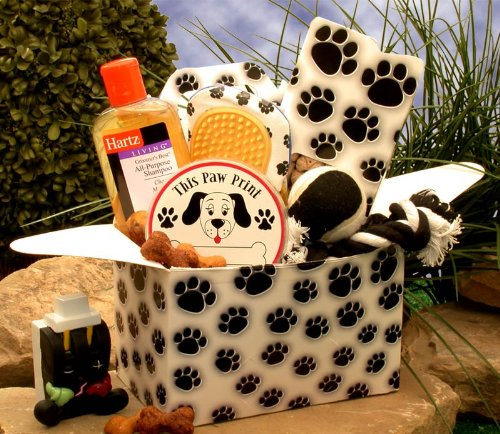 Pet Gift of Paw prints Doggie Pet Gift Baskets Associates Care Package (Dog Treat Gift Baskets)