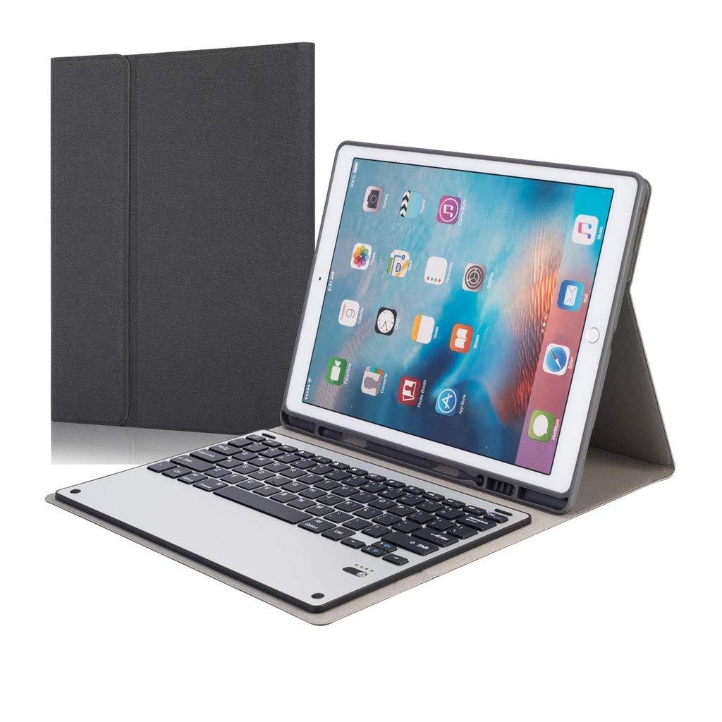 QHJ Kabellose Tastatur mit PU Lederetui,Für iPad Pro 12.9 2017 2015 Ledertasche + Abnehmbare Drahtlose Tastatur
