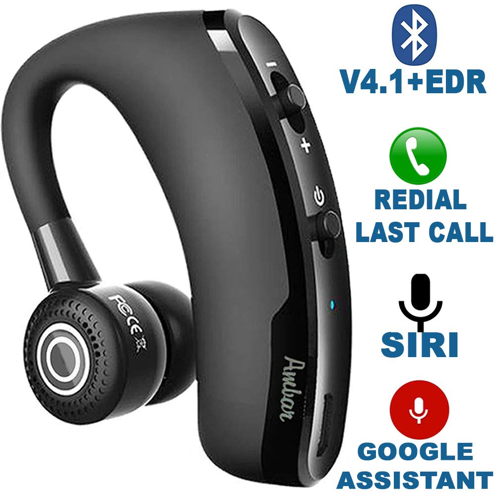 Wireless Bluetooth Earpiece V4.1+EDR - Smart Noise Cancelling Bluetooth Headset for Businessmen, Office, Driving, Trucker, Compatible with Android/iPhone/Google Assistant by Ambar