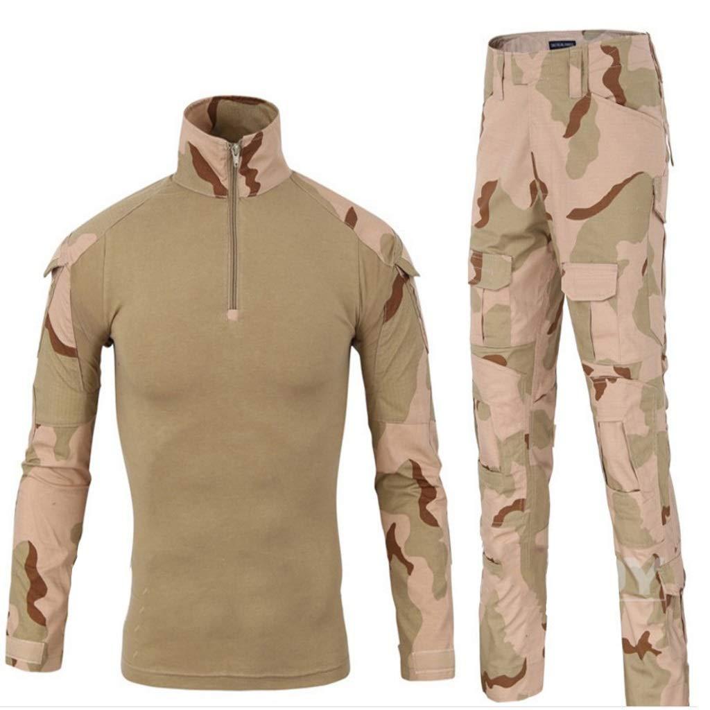 GRZP Desert Camouflage-Anzug, Militäruniform Herren Camouflage Kampf Schlank Langarm T-Shirt Jacke Hemd und Hose Uniform Spiel Paintball Schießen Airsoft Jagd Schießen Taktisches Set (größe : M)