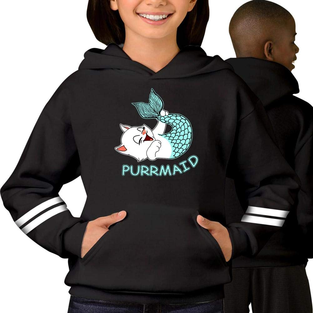 Youth Hoodie Funny Purr Maid Cat Mermaid Long Sleeve Fleece Pullover Hoody Sweatshirt