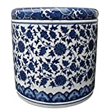 Blue and White Porcelain Pencil Holders Pen Holders Porcelain Vase (7.5 × 7.5 × 7.5 Inces, Blue and White 04)