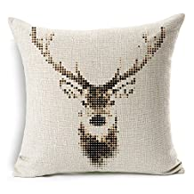 """Personalized Christmas Series Milu Deer Cotton Linen Decorative Square Throw Pillow Cover Cushion Case for Sofa Bed Car Cushion Cover 18 """" X 18 """""""