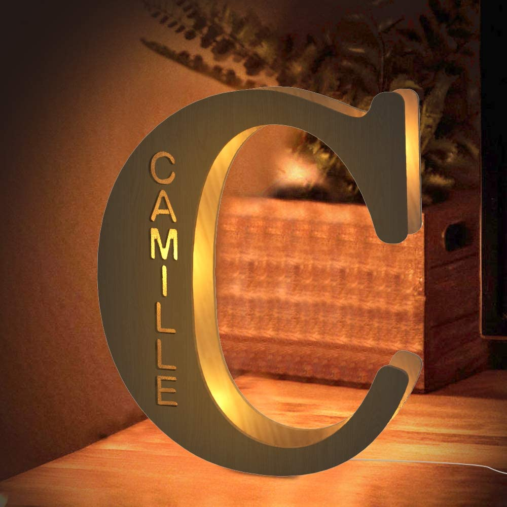 Custom LED Night Light, Personalized Wood Letter Wall Light Engraved Name Letter Lamp Home Decor Gift for Kids Girlfriend Boyfriend Mom Families Christmas Birthday Wedding Wall Room Bedside Decor - C